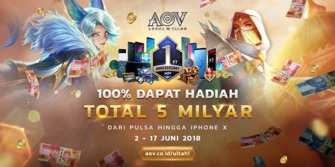 Rayakan Pesta Ulang Tahun Pertama Arena Of Valor Dengan Hadiah Total 5 Milyar Rupiah.